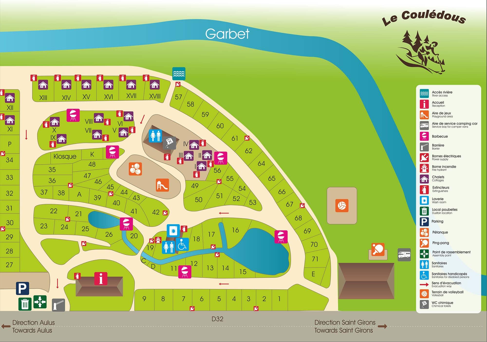 Plan du camping Le Couledous - Aulus-les-Bains